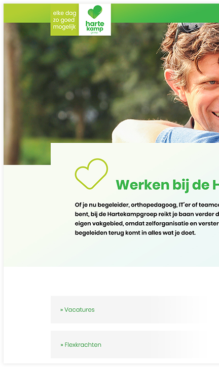Hartekamp Groep website header links