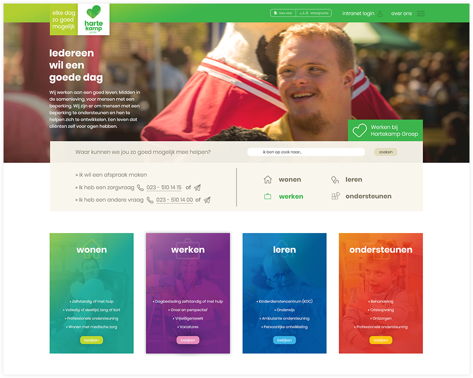 Hartekamp Groep website header